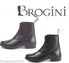 BROGINI LEATHER RIDING BOOTS JODHPUR FRONT ZIP BROWN BLACK TIVOLI LEATHER
