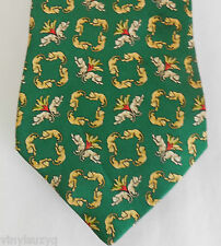 Salvatore Ferragamo Green Silk Cat Lion Neck Tie Italy