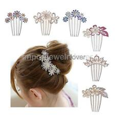 Fashion Wedding Bridal Girls Flower Diamante Rhinestone Hair Pin Comb Clip Slide