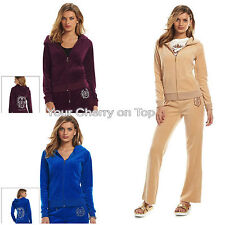 JUICY COUTURE Embellished Velour Pleated Hoodie & Pants TrackSuit Women's L XL
