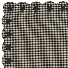 Black and Khaki Tan Cotton Check Country Star Appliqued Tablecloth Scalloped Hem