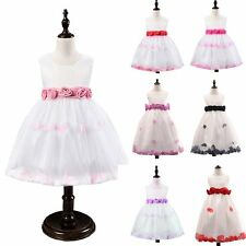 Girl Flowers Rose Petals Kids Princess Tulle Dress Party Wedding Pageant