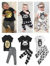 Baby Boys Kids Pure Cotton Clothes Short Sleeve & Pants Summer Outfits Set 0-36M