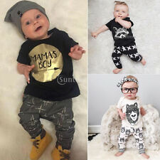 Newborn Baby Boys Kids Casual T-shirt Tops+Long Pants Outfits Clothes Sets 0-3Y