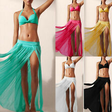 Sexy Bikini Cover Up Swimsuit Sheer Beach Maxi Skirt Veil Sarong Dress Swimwear