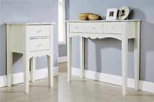 Shabby Chic 2 Drawer Bedside Table and 3 drawer dressing table in white