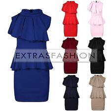 Women Ladies Sleeveless Frill Ruffle Shoulder Turtle Neck Party Peplum Dress