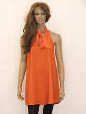 New womens orange halterneck pussy bow detail swing tunic dress size 6-20