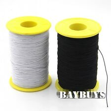 Black White Elastic Cotton Covered Thread 0.5mm 1Roll(547 Yards)/Pack