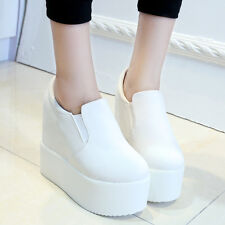 Fashion Women Elastic High Platform Wedge Heel Ankle Boots Shoes Canvas Sneakers