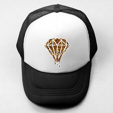 Dripping Diamond Leopard Plain Trucker Baseball Cap Solid Mesh Curved Visor Hat
