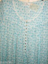 NWT SM EILEEN WEST Cotton Short w Cap Sleeve Teal Blue Floral Night Gown