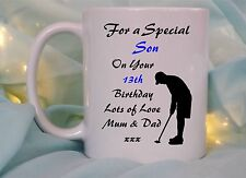PERSONALISED BIRTHDAY GOLFER MUG/COASTER ANY NAME/AGE TEENAGER,PENSIONER GIFT