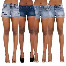 Ladies Women Lace Faded Denim High Waisted Shorts Jeans Hotpants 6 8 10 12 14 16