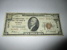 $10 1929 Mobile Alabama AL National Currency Bank Note Bill! Ch. #13414 Fine