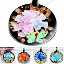 Murano Lampwork Glass Round Butterfly Flower Charm Bead Pendant For Necklace DIY