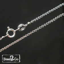 """925 Sterling Silver Rolo Chain Necklace REAL SOLID -1.3mm - 18"""" spring clasp"""