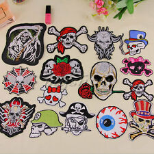 Embroidered Patch Motif Applique Skull Pirate Sew Iron On Cloth Accessories DIY