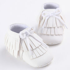 Cute BowTie Girls Boys Toddler Infant Double Tassel Moccasins Baby Shoes 0-18M