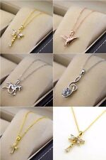 """18k Yellow Gold Filled Cross Dragonfly Necklace Pendant 18""""Chain Link GF Jewelry"""