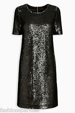 BNWT New NEXT Black Silver Grey All Over Sequin Shift Dress 10 12 14 or 16 £50