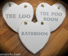 The Poo The Loo And Bathroom Hanging Signs Shabby Chic Heart White Wooden Plaque