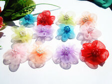 20-100pcs chiffon Flower with pearl Wedding Appliques / Crafts