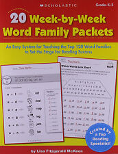 20 Week-by-Week Word Family Packets Easy  for Teaching Top 120 Word Families NEW