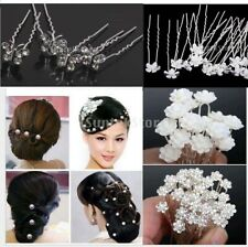 18pcs Charm White Pearl Crystal Flower Hair Pin Bobby for Wedding Bridal Prom
