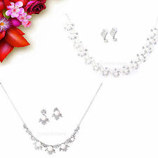 Fashion Bride Crystal Bridal Necklace Earring Ring Jewelry Set Wedding
