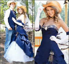 New Cowboy Blue Denim Camo Wedding Dresses Maid of Honor Country Bridal Gowns