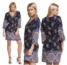 NEW WOMENS LADIES 3/4 SLEEVE BEADED V NECK PAISLEY PRINT SHIRT DRESS TUNIC TOP