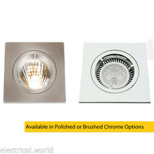 Die-Cast MR16 50mm Low Voltage Square Downlight In Brushed or Polished Chrome