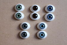 SOLID GLASS EYES 8mm FLAT BACK OVAL FOR OOAK BABIES *PHIL DONNELLY BABIES*