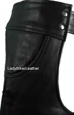 Unisex BLACK Leather MOTORCYCLE CHAPS Hip Pocket Z/O LINER Stretch INNER Thighs