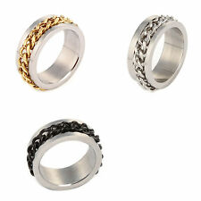 Women 8mm Stainless Steel Chain Rotatable Wedding Band Ring Size 6-11 Jewelry