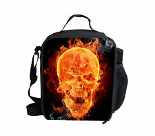 Skull Head Insulated Lunch Bag Girls Thermal School Picnic Food Pack Cooler Box