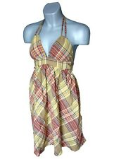 Roxy Brown Check Halterneck summer Dress New BNWT UK size 8 12 Small large