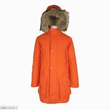 Timberland Men's Parka Waterproof Dry Faux Fur Orange Hooded Coat Style 8141J