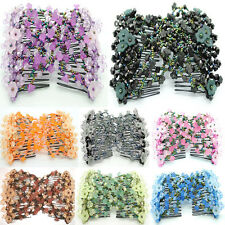 Womens Magic Beads Double Hair Grip Comb Clip Stretchy Hairpins Combs