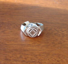 """Narcotics Anonymous 3/8"""" NA Raised Signet Ring Sterling Silver 12 Step 784"""