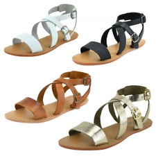 WOMENS GLADIATORS SANDALS CASUAL FLAT LEATHER SUMMER BEACH LADIES EVENING SHOES