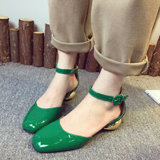 Fashion Womens Belt Buckle Square Toe Low Heels Pumps Shallow mouth Single shoes