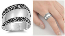 Sterling Silver 925 LADIES MEN'S BALI HANDMADE WITH ROPE DESIGN RING SIZE 5-12