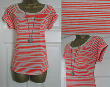 NEW EX Marks & Spencer Short Sleeve Casual T-Shirt Top Summer Striped M&S 6-24
