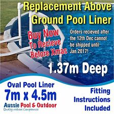 NEW Above Ground Swimming Pool Oval Liner 7.0m x 4.5m, 1.37m deep, 5yr warranty