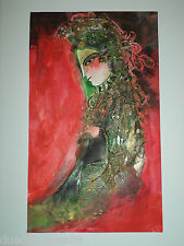 Cuban Cuba Artist Charo Hand SIGNED PaintiNG LADY RED BACKGROUND ART HAVANA 30