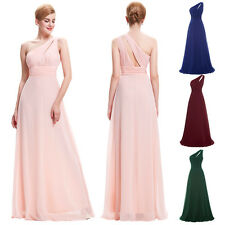 One Shoulder Chiffon Bridesmaid Long Dress Formal Cocktail Evening Wedding Gown