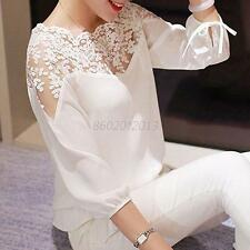 Girl Womens Chiffon 3/4 Sleeve Loose Lace Tops Hollow T-Shirt Sweet Blouse Crop