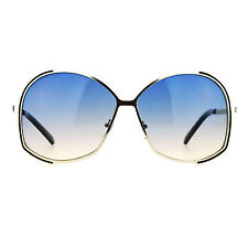 Womens Designer Fashion Sunglasses Oversized Metal Frame Gradient Lens